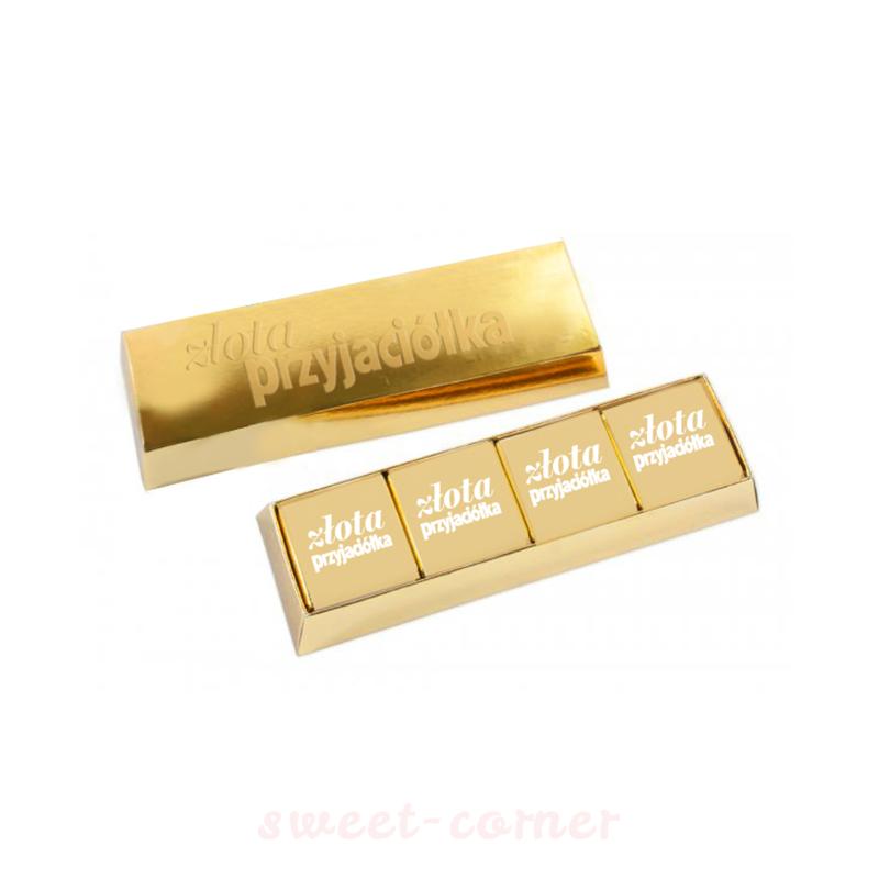 złota sztbka z czekoladkami belgijskimi